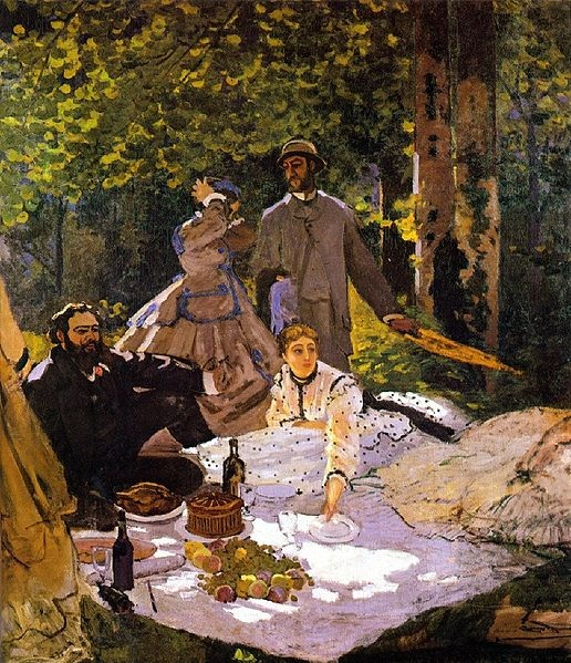 Claude Monet, Déjeuner sur l'herbe (1866), frammento destro, Museo D'Orsay, Parigi