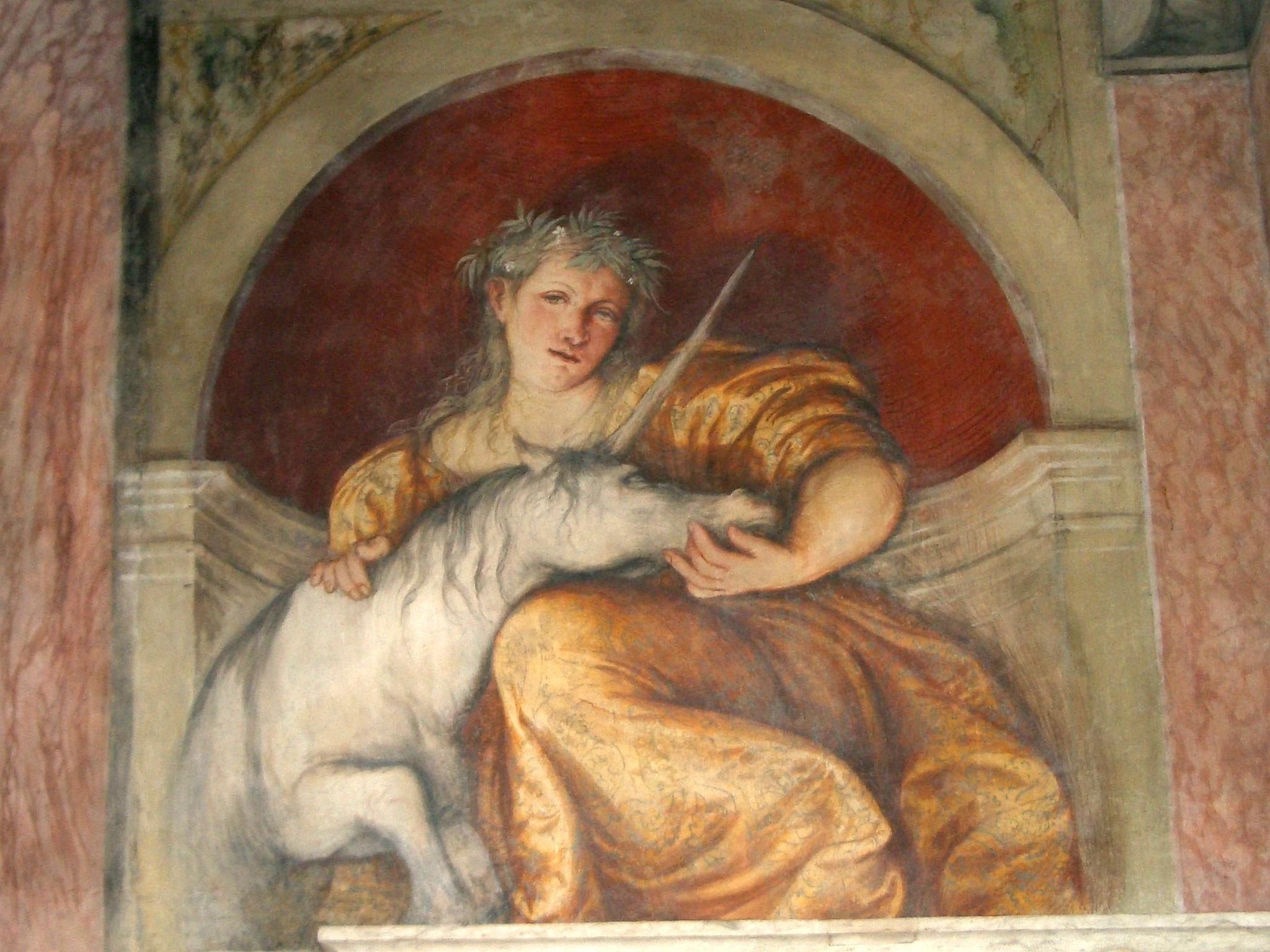 Il Liocorno, affresco del Romanino nel castello di Buonconsiglio a Trento